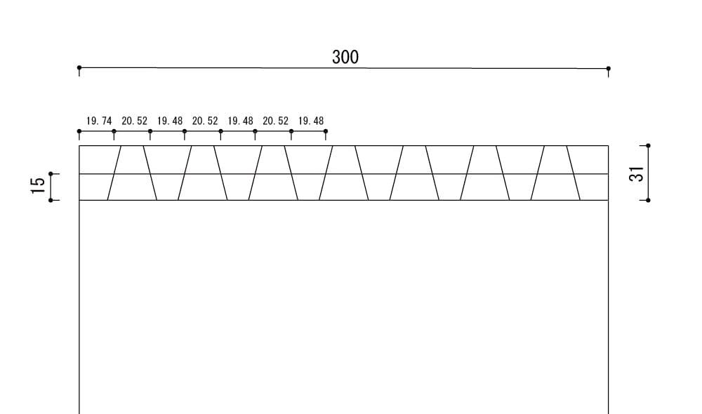 中心線との接点の寸法