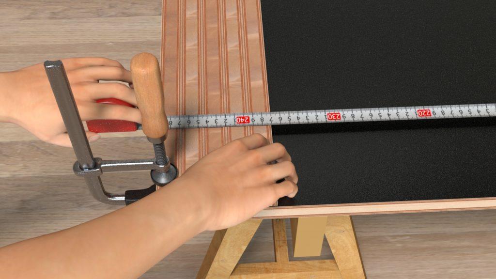 切れっ端の厚みを抜いた内寸を測る
