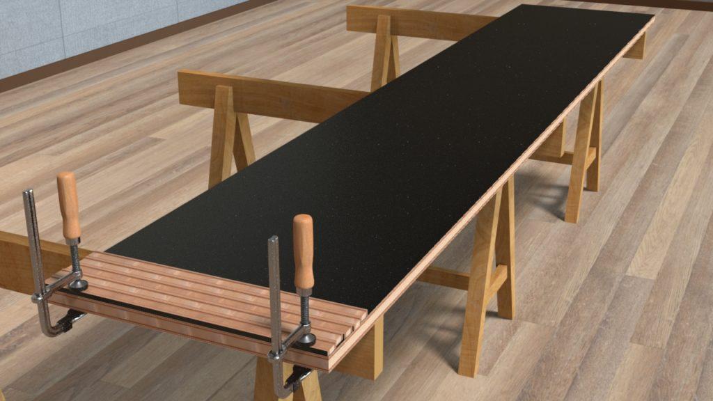 家具地板の上に側板の切れっ端を並べる